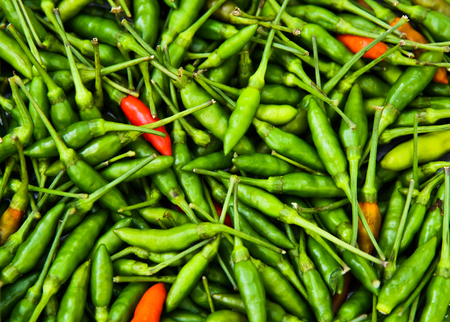 mild: Be careful Green Thai Chilli is so hot and spicy Stock Photo
