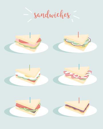 Set of sandwiches vector illustration on blue background