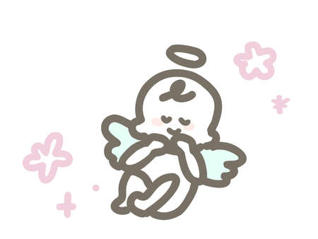 Cute illustration of a fetus with angel wings sleeping happily. Çizim