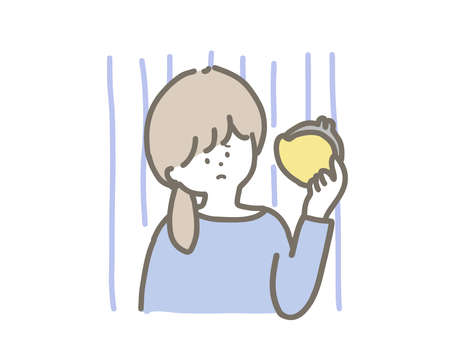 Illustration of a young woman in trouble without money. She is troubled with a yellow purse.