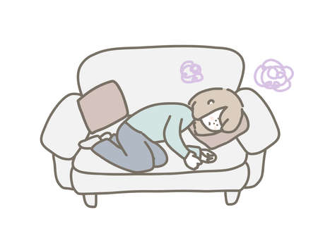 An illustration of a person lying on a couch. The person feels depressed and painful.