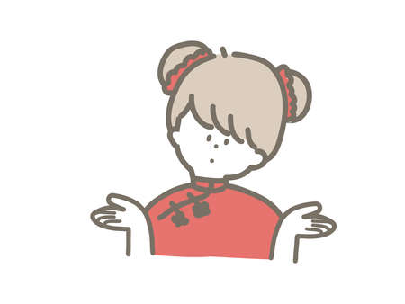 Cute illustration of a child wearing a China hat and China clothes.