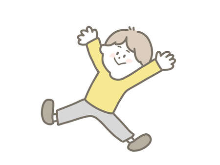 This is a cute illustration of a very happy boy. Stock Illustratie