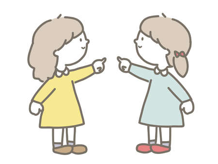 A cute illustration of a girl pointing her finger. Stok Fotoğraf - 135361484