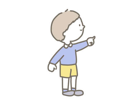 Cute illustration of a boy holding a finger.