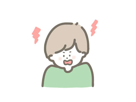 It is a cute illustration of an angry boy.