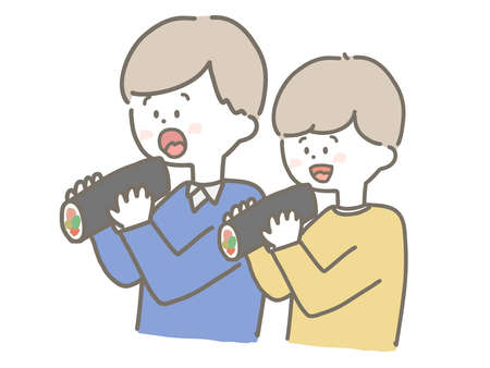 This is a cute illustration of a boy who is eating Sushi roll.
