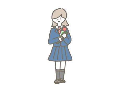 It is an illustration of the smile of the student who reached the graduation ceremony.  イラスト・ベクター素材
