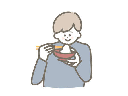 Illustration of a man eating rice cake. 向量圖像