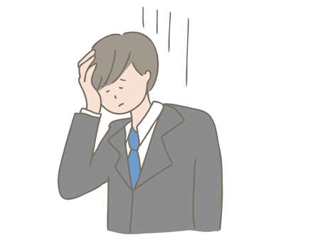 Illustration of a woman who has had a headache due to a problem.  イラスト・ベクター素材