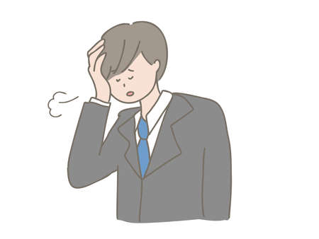Illustration of a woman who has had a headache due to a problem.