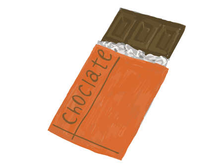 It is a handwritten style illustration of a chocolate bar.