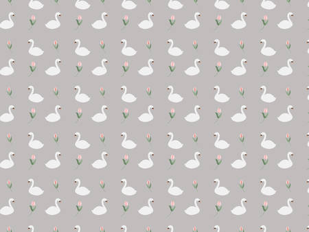 Seamless pattern with swan and flower motifs.  イラスト・ベクター素材