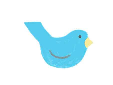 It is a stylish illustration of a small bird drawn with crayons.