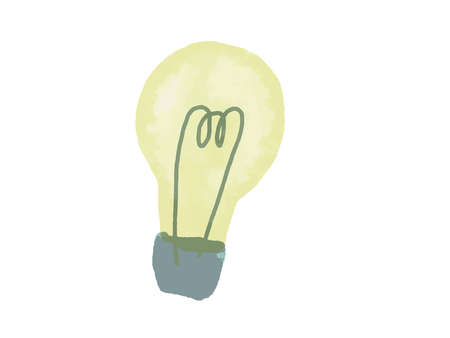 Illustration of a light bulb drawn in watercolor style.