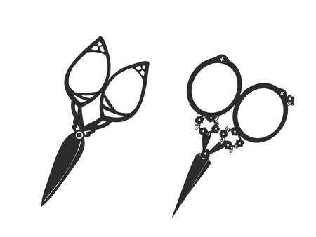 It is an antique illustration of Itokiri scissors.