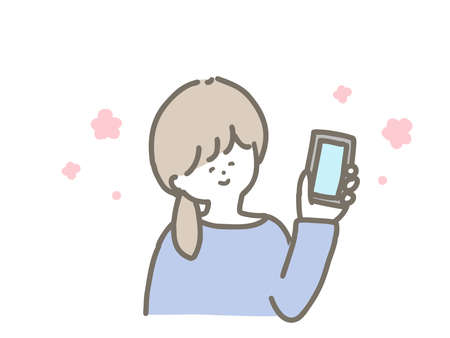 It is a cute illustration of a woman holding a smartphone. Ilustração