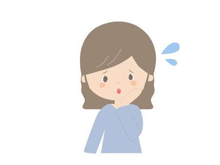 Cute illustration of a young woman in trouble. Illusztráció