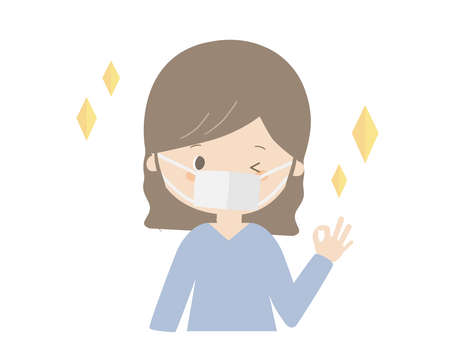 This is a cute illustration of a young woman wearing a mask and posing OK. Illustration