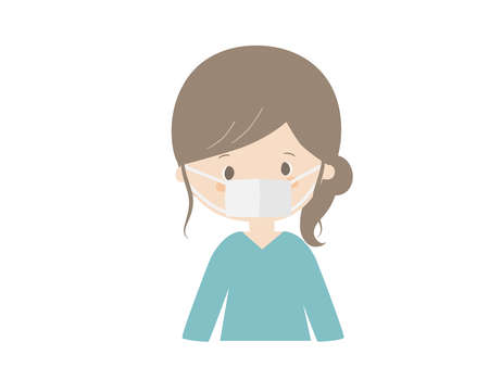 This is a cute illustration of a young woman wearing a mask Illustration