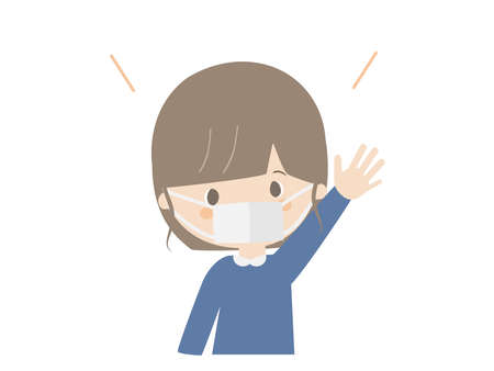 This is a cute illustration of a girl raising her hand wearing a mask. Ilustracja