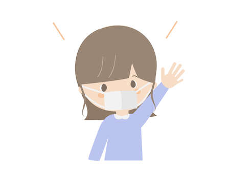 This is a cute illustration of a girl raising her hand wearing a mask.