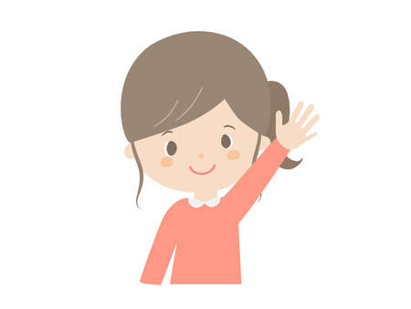 It is a cute illustration of a girl raising hands.