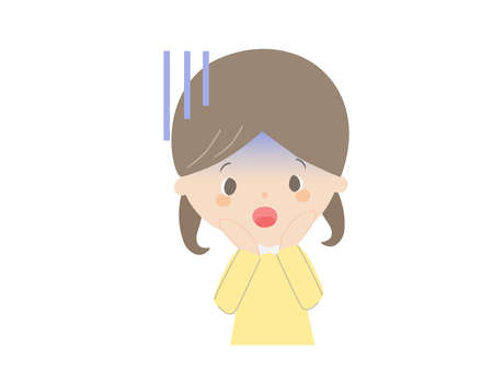 It is a cute illustration of a girl who is shocked.