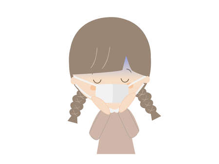 It is a cute illustration of a girl who has a cold.