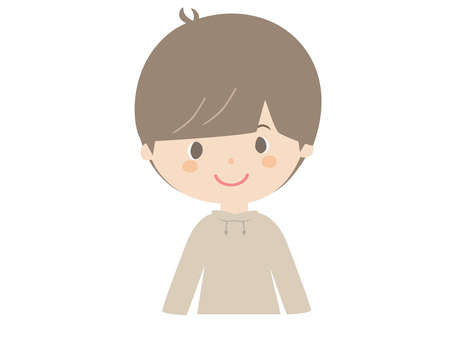 It is a cute illustration of a smiling boy.