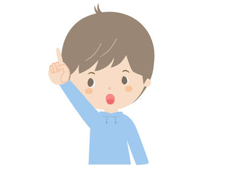 It is a cute illustration of a boy pointing up.