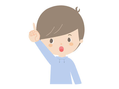 It is a cute illustration of a boy pointing up. 向量圖像