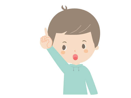 It is a cute illustration of a boy pointing up. Çizim