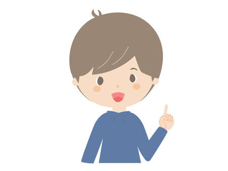 It is a cute illustration of a boy explaining with a smile.