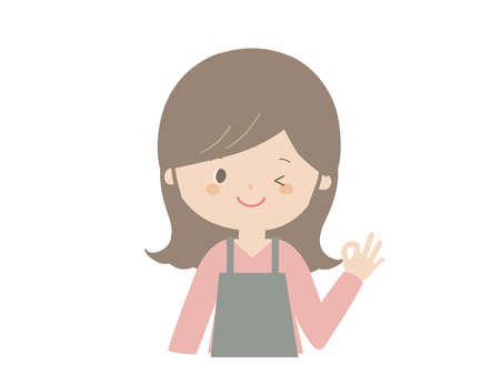 A cute illustration of a woman wearing an apron and posing OK.