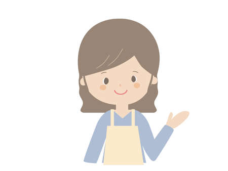 It is a cute illustration of a young woman wearing an apron.