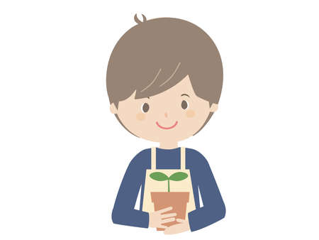 It is a cute illustration of a young man holding a seedling.