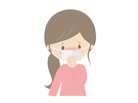 Illustration of a woman catching a cold. She looks like she has a fever. Ilustracje wektorowe