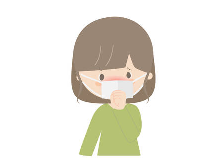 Illustration of a woman catching a cold. She looks like she has a fever.