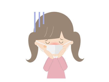 It is an illustration of a girl who seems to be sick with heat.