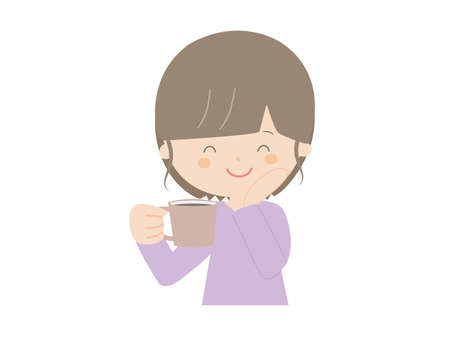 Illustration of a woman being healed after drinking coffee. Ilustração