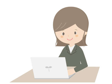 A cute illustration of a business woman working on a laptop.