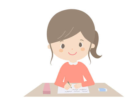 A cute illustration of a girl studying. 向量圖像