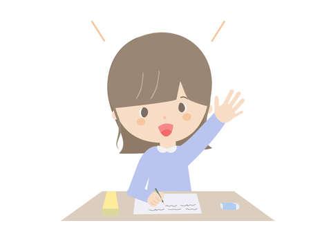 A cute of a girl raising her hand during class.