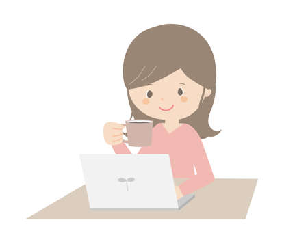 A cute illustration of a woman drinking coffee while looking at a computer.
