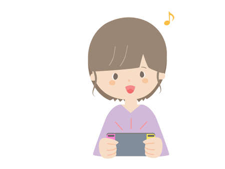 A cute illustration of a woman playing on a portable game console.