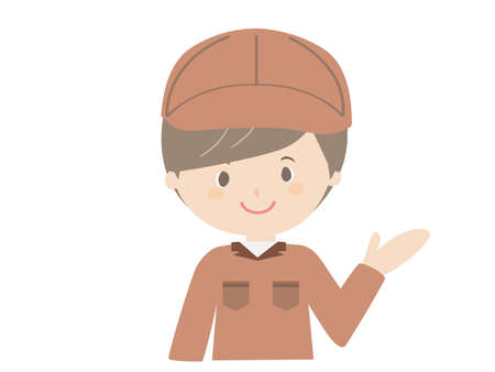 A cute illustration of a man in work clothes guiding with a smile.