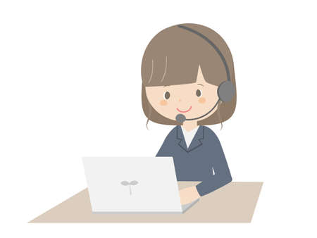 A cute illustration of a business woman wearing a headset and using a laptop.