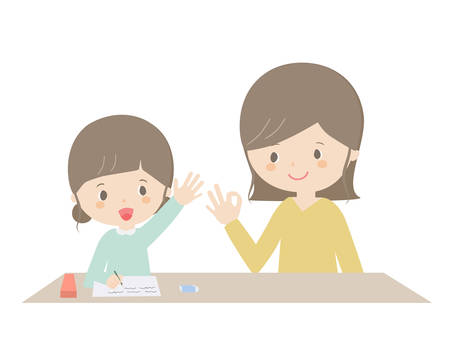 It is an illustration of a girl and a mother doing home study.