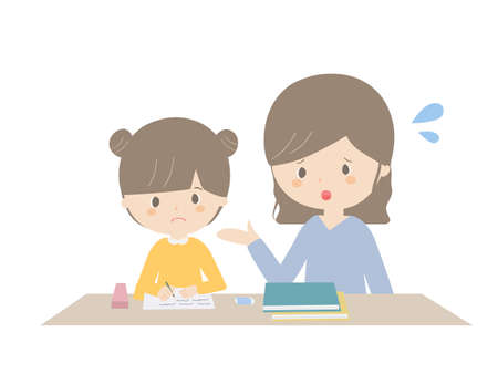 It is an illustration of a girl and a mother who are learning homework while in trouble.